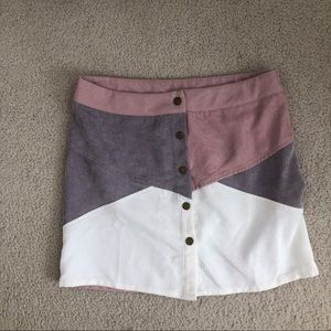 Corduroy Patchwork Mini Skirt with Buttons